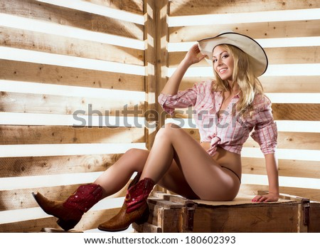 young happy sexy naked cowgirl western stock photo (royalty free