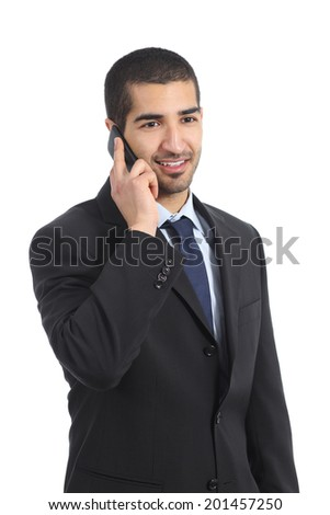 Young happy arab business man on the mobile phone isolated on a white background                - stock photo