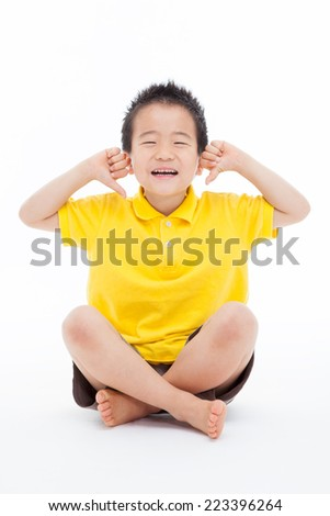 Young happy Asian boy pointing himself isolated on white background.  - stock photo
