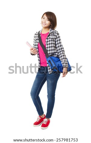 Young happy asian student with books and isolated on white