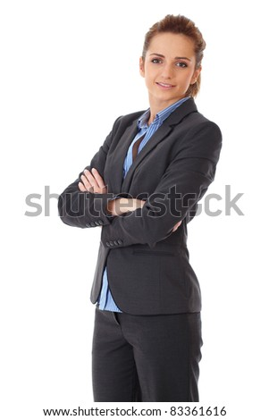 young happy attractive businesswoman with crossed arms, isolated on white background - stock photo
