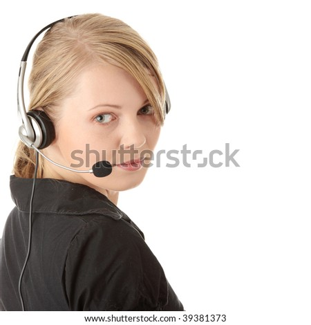 Young happy beautiful customer service operator girl in headset, smiling, isolated on white background. - stock photo