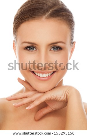 Young happy beautiful natural woman naked over white background - stock photo