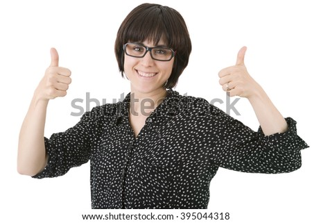 young happy beautiful woman going thumbs up, isolated in white - stock photo