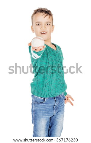 young happy boy with wooden baseball ball isolated on white background. - stock photo