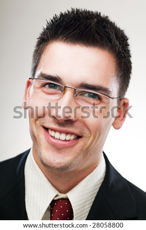 young happy business man close up portrait - stock photo