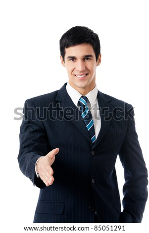 Young happy business man giving hand for handshake, isolated on white background