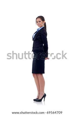 Young happy business woman, isolated on white - stock photo
