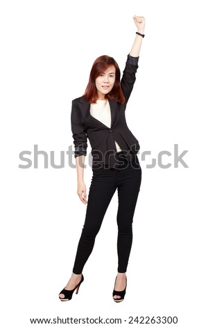 Young happy business woman isolated white background