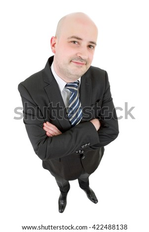 young happy businessman full body, isolated on white background - stock photo