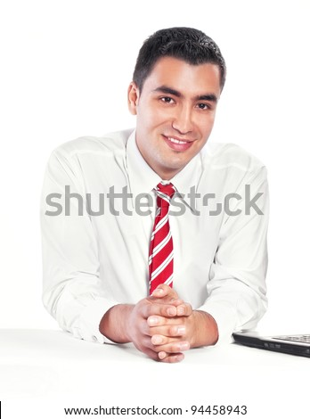 Young happy businessman, isolated on white - stock photo