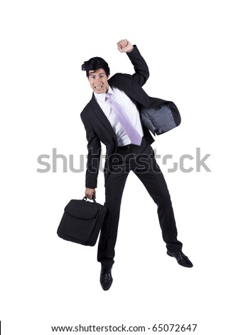 young happy businessman jumping isolated on white (some motion blur)