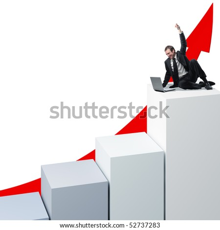 young happy  businessman with his laptop on 3d stat - stock photo