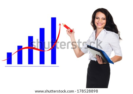 Young happy businesswoman hold pencil.