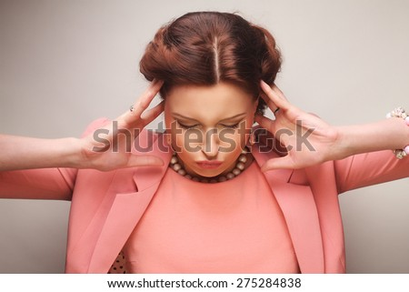 young happy businesswoman in pink - stock photo