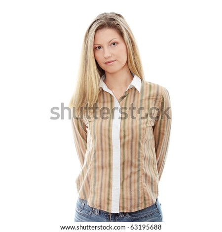 Young happy businesswoman isolated on white - stock photo
