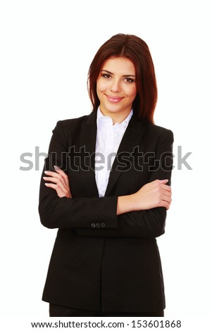 Young happy businesswoman with arms folded isolated on white - stock photo