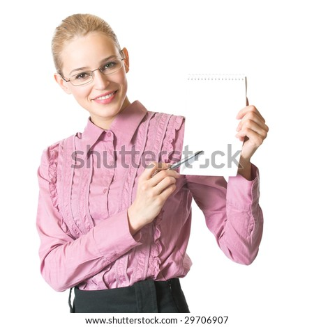 Young happy businesswoman with blank spiral notepad, isolated - stock photo