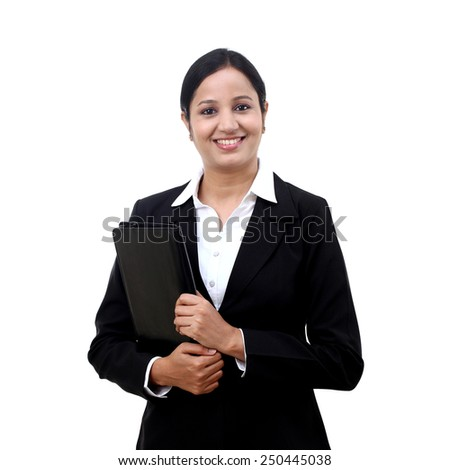 Young happy businesswoman with folder - stock photo