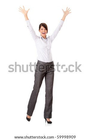 Young happy businesswoman with hands up, isolated on white
