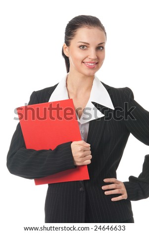 Young happy businesswoman with red folder, isolated on white