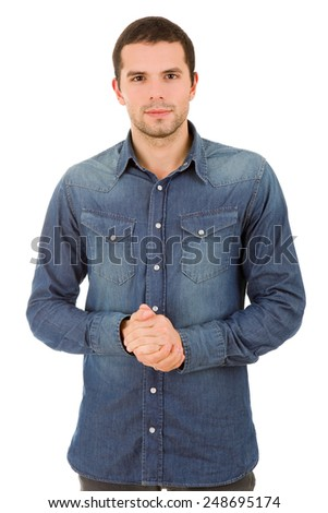 young happy casual man portrait, isolated on white - stock photo