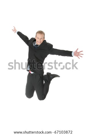 Young happy caucasian businessman jumping in the air , isolated on white background