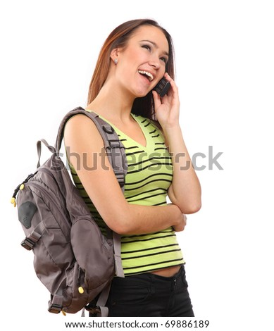 Young happy caucasian woman is calling with a mobile phone - stock photo
