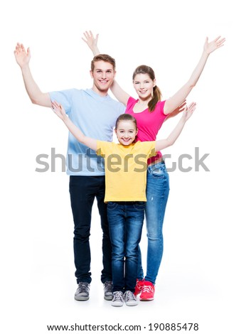 Young happy cheerful family with child raised hands up - isolated on white background. - stock photo