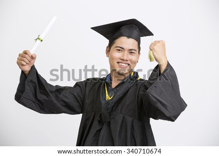 Young Happy cheerful indian Male Student Holding Graduation Certificate Exciting Expression
