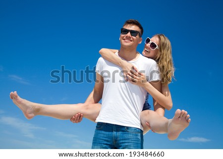 Young happy couple have good time together