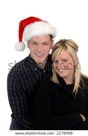 Young Happy Couple In Love Ready For Christmas