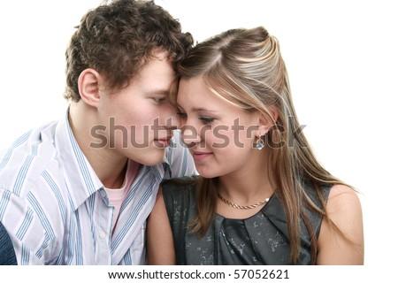 young happy couple in studio - stock photo
