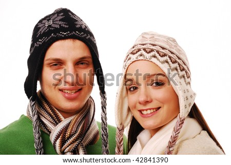 Young happy couple together on white background - stock photo