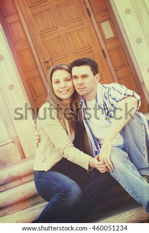Young happy couple with vintage filter - stock photo