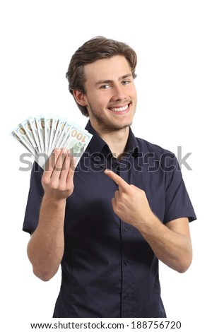 Young happy entrepreneur man showing money isolated on a white background    - stock photo