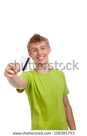 young happy excited smile man holding credit card, handsome guy wear green shirt, isolated over white background
