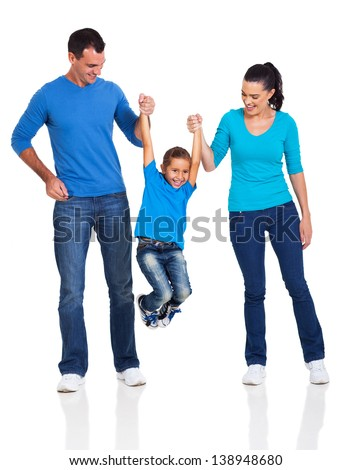 young happy family having fun on white background - stock photo