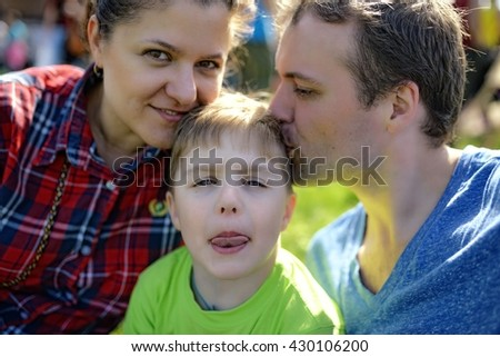 Young happy family portrait - stock photo