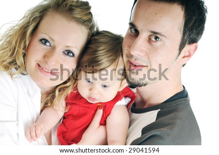 young happy family with beautiful baby playing and smile  isolated on white
