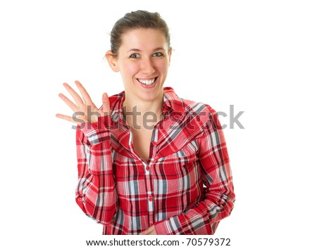 young happy female in red shirt wave hallo, isolated on white background