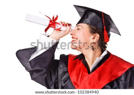 young happy grad looking looking through  diploma like a telescope. Isolated