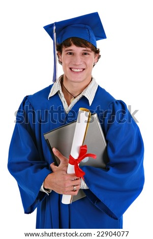 Young Happy Healthy Looking Male College Student Holding Graduation Certificate, Laptop Smiling