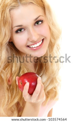 Young happy healthy woman with fresh ripe red apple, isolated on white background - stock photo