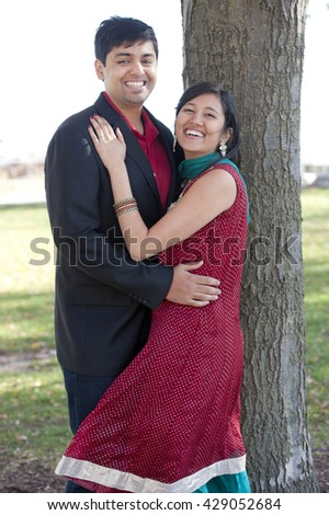 Young Happy Indian Couple - stock photo