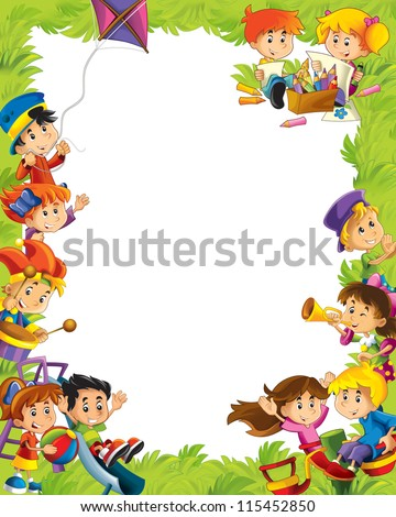 Young happy kids - kindergarten - menu - space for text - stock photo