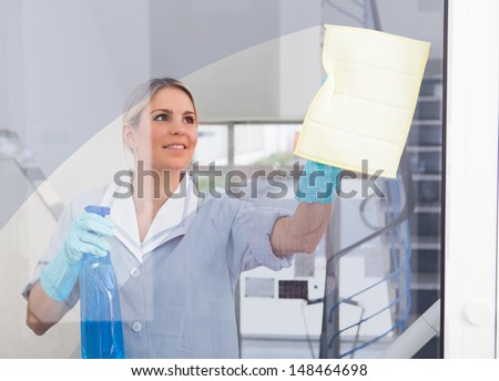 Young Happy Maid Holding Bottle And Cloth - stock photo