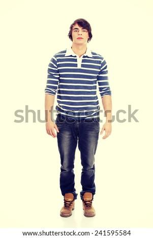 Young happy man full portrait - stock photo