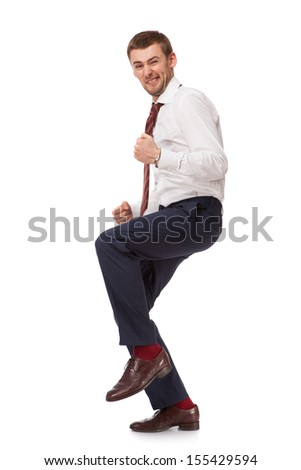 Young happy man isolated on white background - stock photo