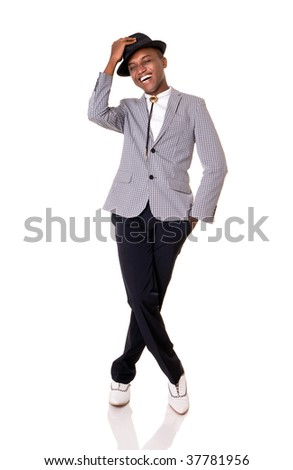 Young happy man posing on white background. - stock photo
